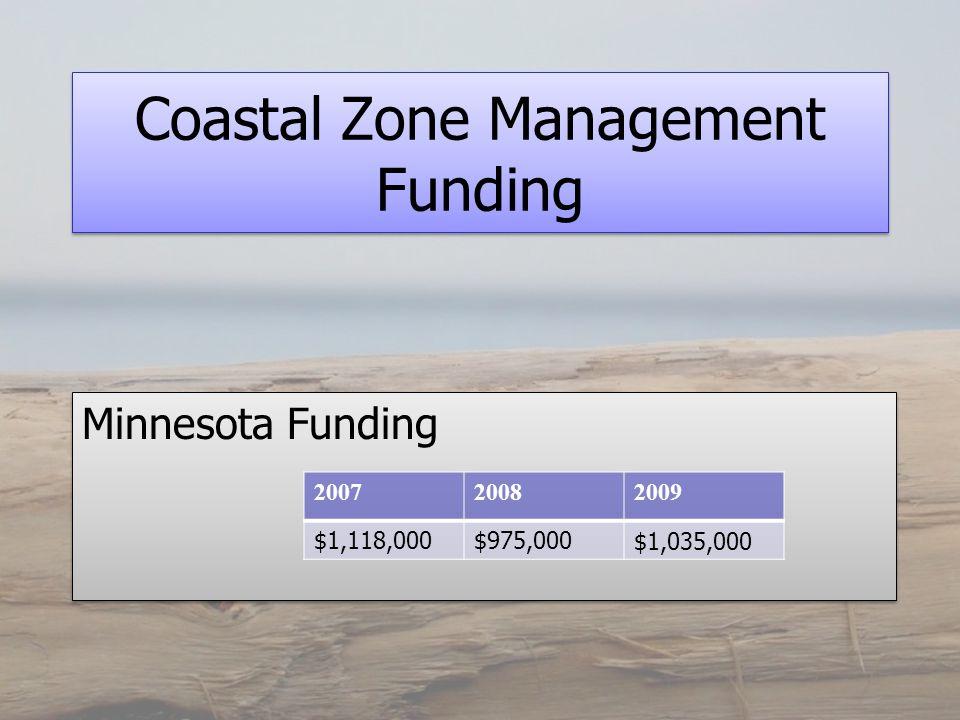 Coastal Zone Management Funding Minnesota Funding 200720082009 $1,118,000$975,000$1,035,000