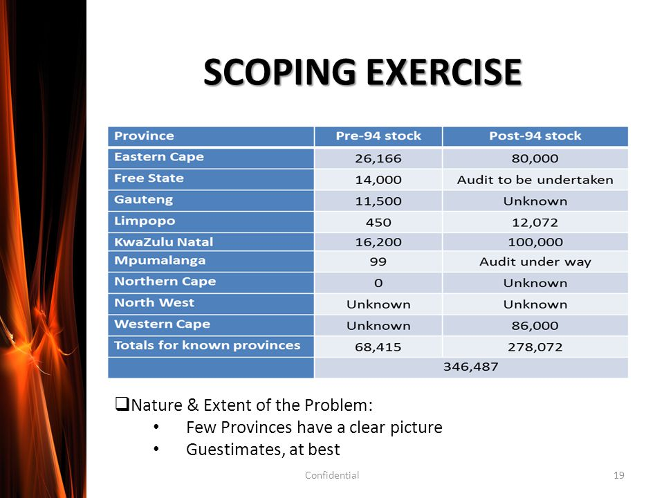 SCOPING EXERCISE  Nature & Extent of the Problem: Few Provinces have a clear picture Guestimates, at best Confidential19