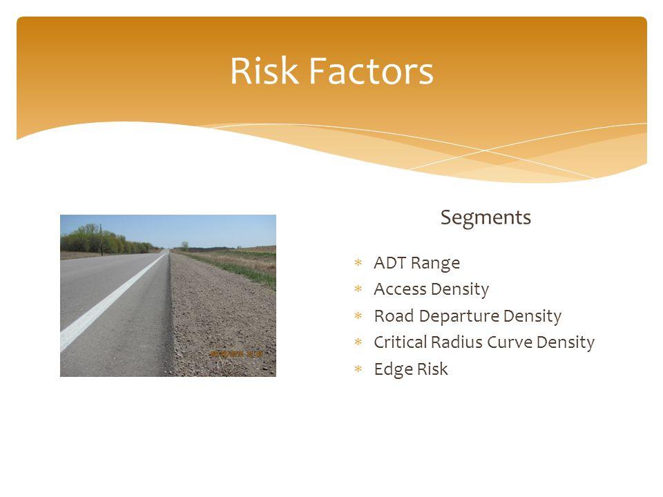 Segments  ADT Range  Access Density  Road Departure Density  Critical Radius Curve Density  Edge Risk Risk Factors