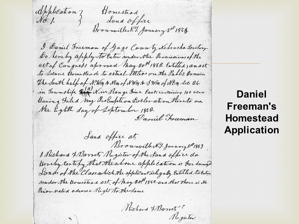  Daniel Freeman s Homestead Application