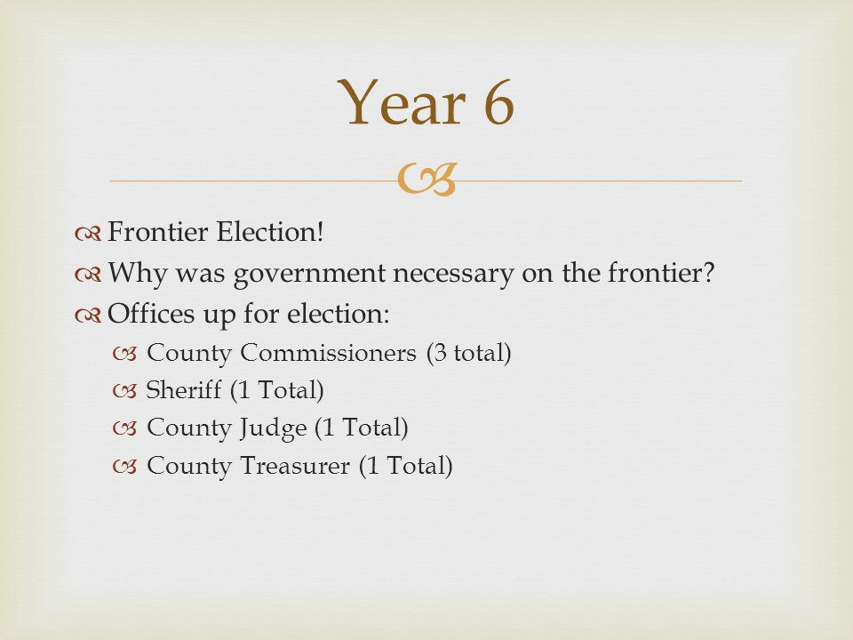   Frontier Election.  Why was government necessary on the frontier.