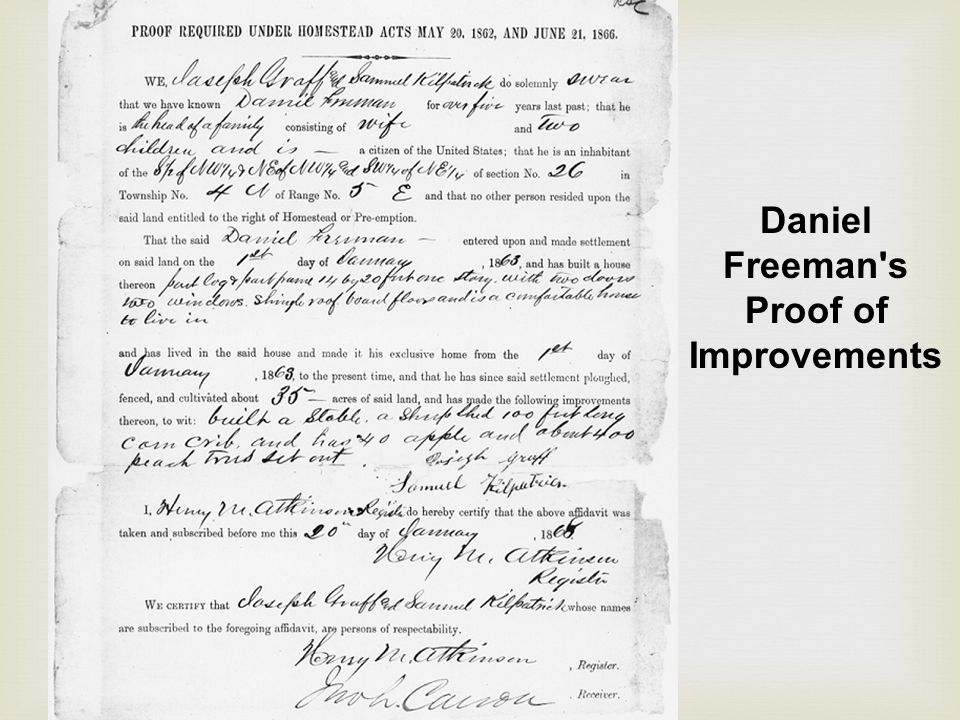 Daniel Freeman s Proof of Improvements
