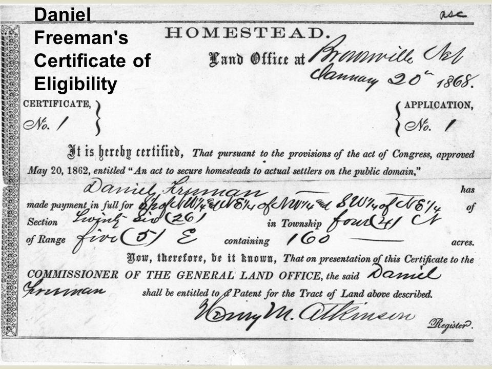 Daniel Freeman s Certificate of Eligibility
