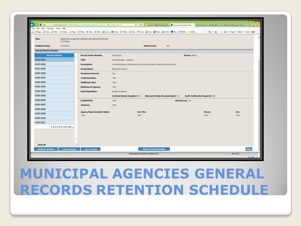 MUNICIPAL AGENCIES GENERAL RECORDS RETENTION SCHEDULE