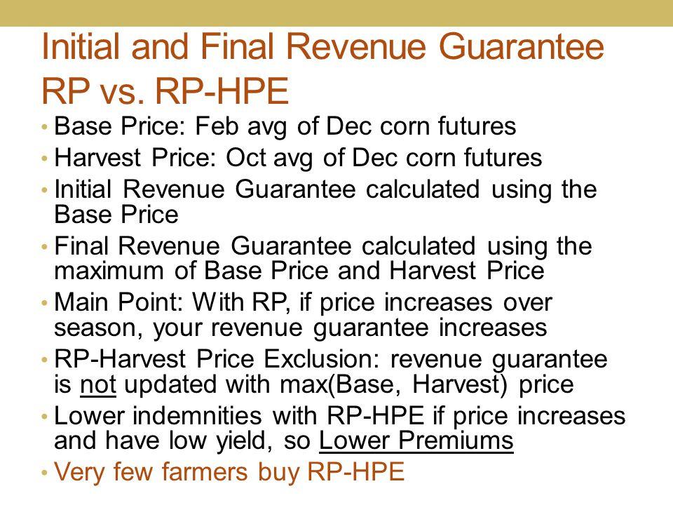 Initial and Final Revenue Guarantee RP vs. RP-HPE Base Price: Feb avg of Dec corn futures Harvest Price: Oct avg of Dec corn futures Initial Revenue G