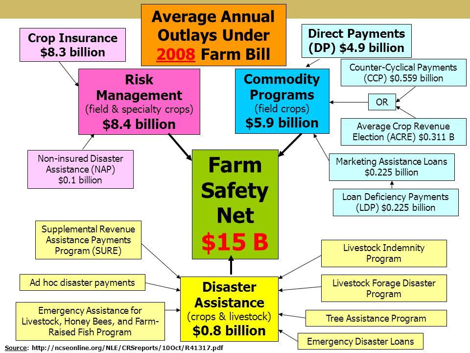 Farm Safety Net $15 B Risk Management (field & specialty crops) $8.4 billion Commodity Programs (field crops) $5.9 billion Disaster Assistance (crops