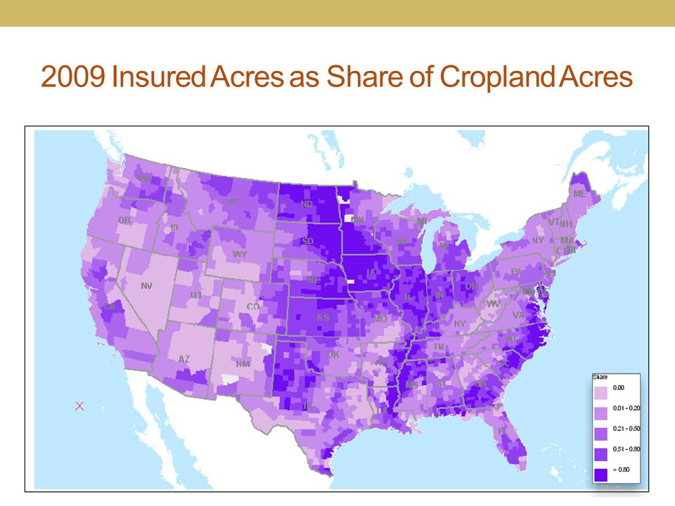 2009 Insured Acres as Share of Cropland Acres