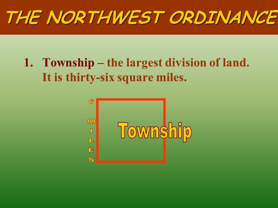 THE NORTHWEST ORDINANCE II.LAND ORDINANCE of 1785: Congress ' s plan to sell the land of the Northwest Territory. A.Rectangular Survey System – carefu