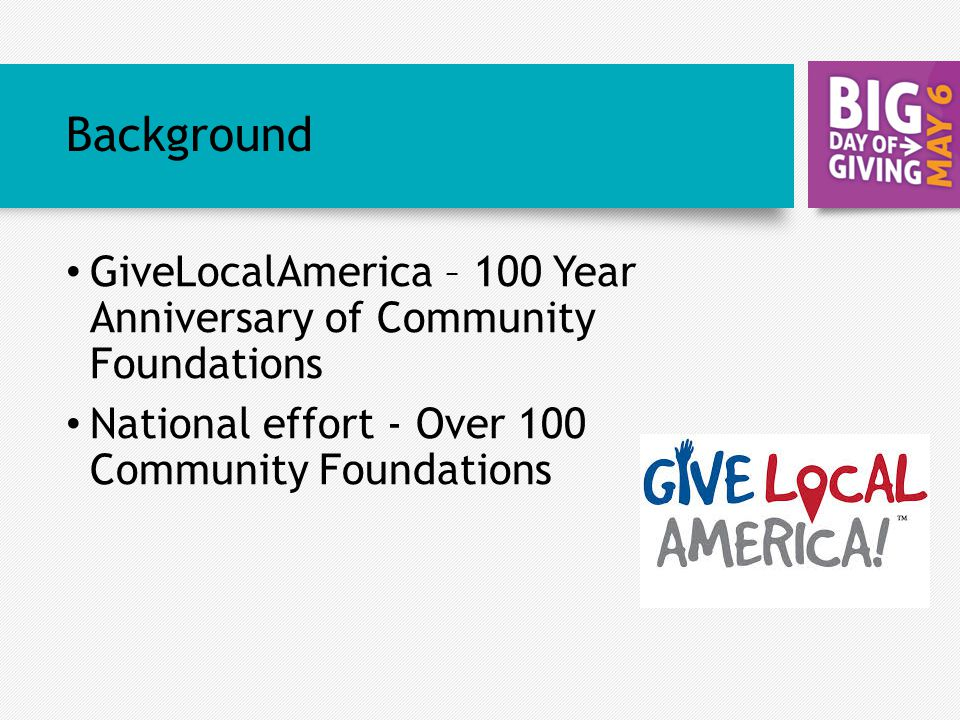 Background GiveLocalAmerica – 100 Year Anniversary of Community Foundations National effort - Over 100 Community Foundations