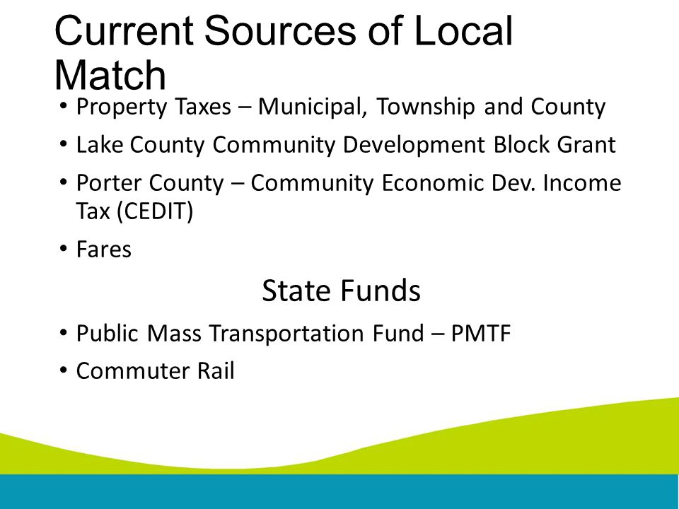 Current Sources of Local Match Property Taxes – Municipal, Township and County Lake County Community Development Block Grant Porter County – Community Economic Dev.