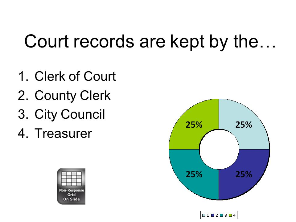 Court records are kept by the… 1.Clerk of Court 2.County Clerk 3.City Council 4.Treasurer
