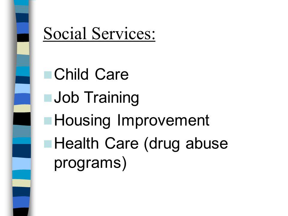 Social Services: Child Care Job Training Housing Improvement Health Care (drug abuse programs)