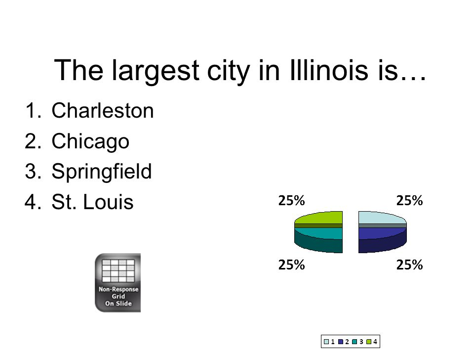 The largest city in Illinois is… 1.Charleston 2.Chicago 3.Springfield 4.St. Louis