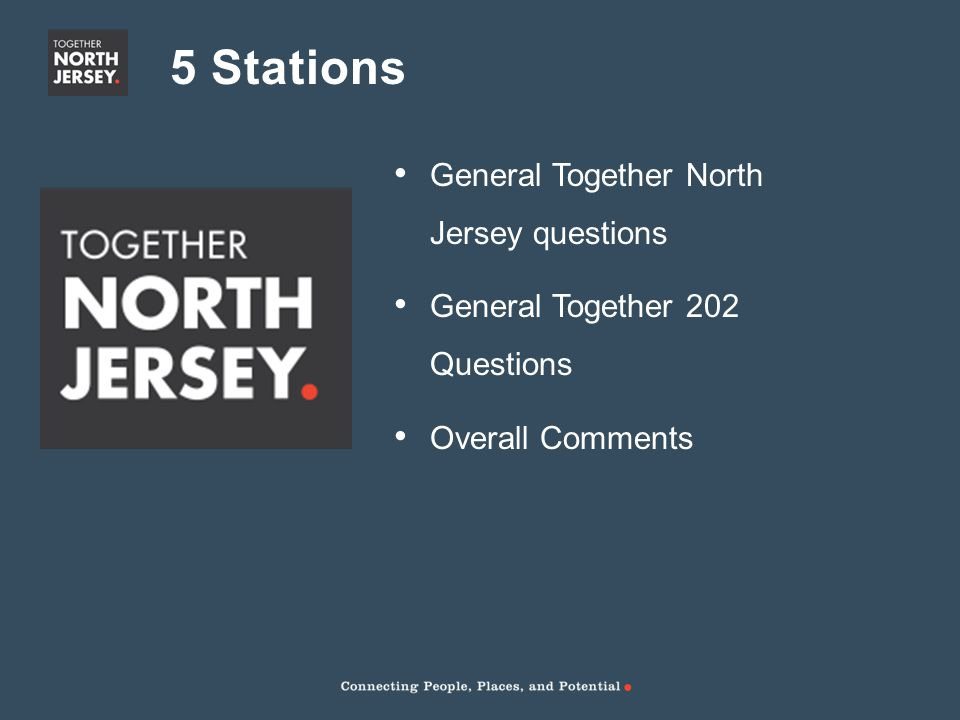 5 Stations General Together North Jersey questions General Together 202 Questions Overall Comments