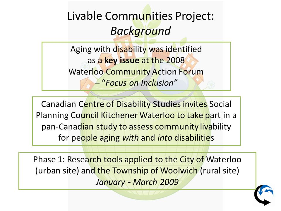 Livable Communities Project: Action Taken To Date Participation at Waterloo Community Action Forum – Focus on Inclusion – further discussion of removing the stigma of disabilities.