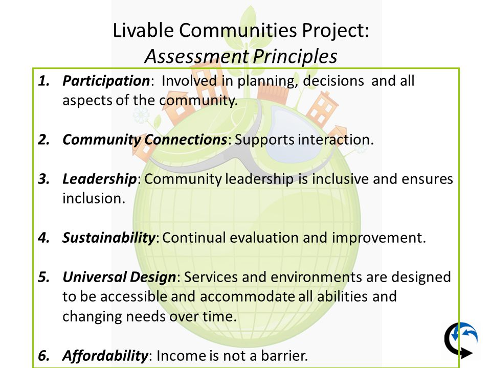 Livable Communities Project: Assessment Principles 1.Participation: Involved in planning, decisions and all aspects of the community.
