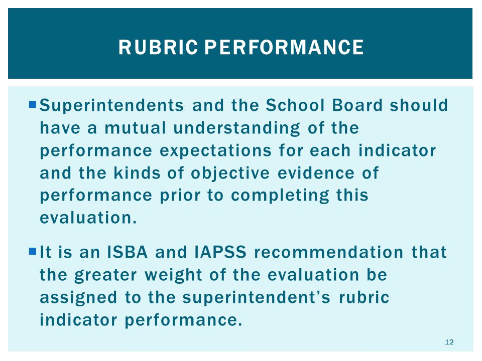  Superintendents and the School Board should have a mutual understanding of the performance expectations for each indicator and the kinds of objective evidence of performance prior to completing this evaluation.