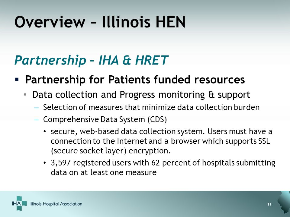Overview – Illinois HEN Partnership – IHA & HRET  Partnership for Patients funded resources Data collection and Progress monitoring & support – Selec