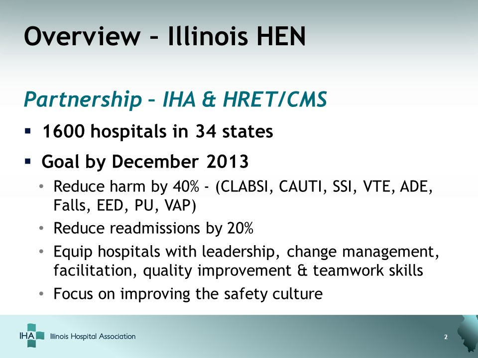 Overview – Illinois HEN Partnership – IHA & HRET/CMS  1600 hospitals in 34 states  Goal by December 2013 Reduce harm by 40% - (CLABSI, CAUTI, SSI, V
