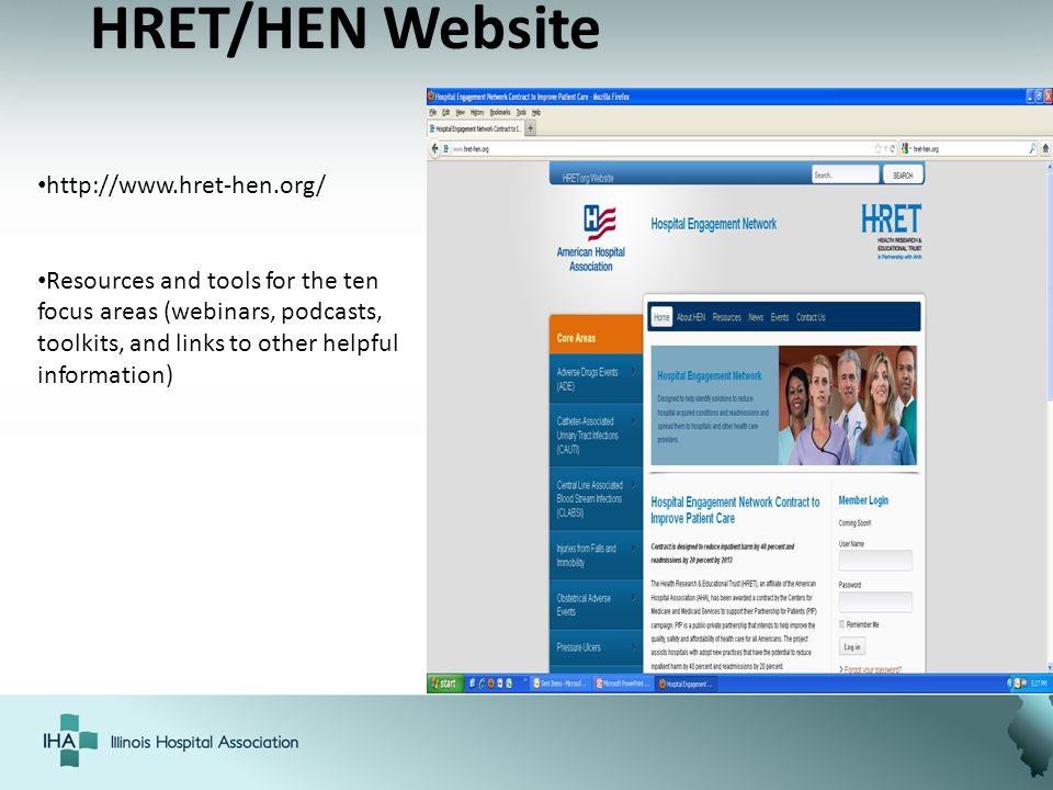 HRET/HEN Website http://www.hret-hen.org/ Resources and tools for the ten focus areas (webinars, podcasts, toolkits, and links to other helpful inform