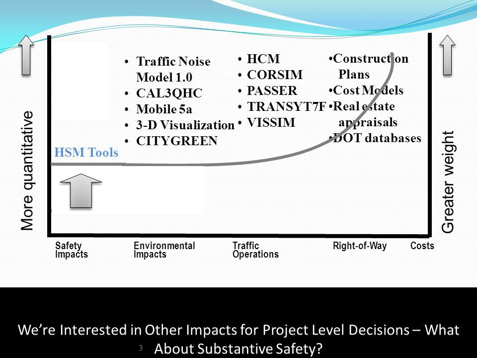 We're Interested in Other Impacts for Project Level Decisions – What About Substantive Safety.