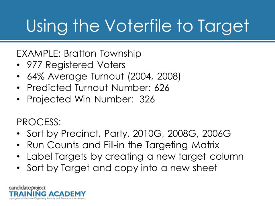Using the Voterfile to Target EXAMPLE: Bratton Township 977 Registered Voters 64% Average Turnout (2004, 2008) Predicted Turnout Number: 626 Projected Win Number: 326 PROCESS: Sort by Precinct, Party, 2010G, 2008G, 2006G Run Counts and Fill-in the Targeting Matrix Label Targets by creating a new target column Sort by Target and copy into a new sheet