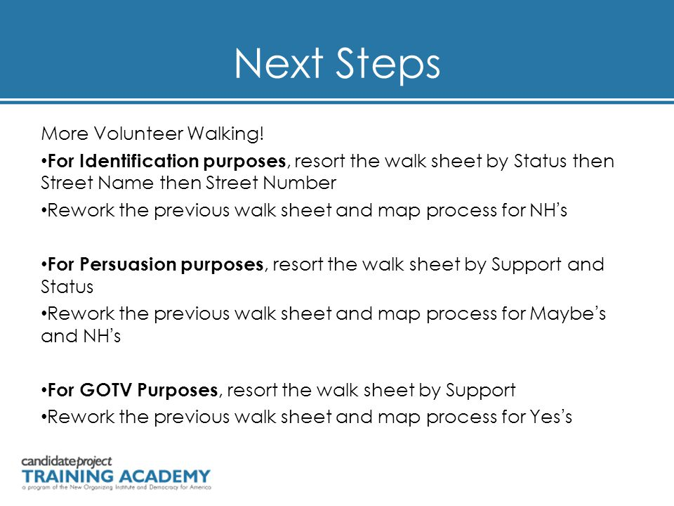 Next Steps More Volunteer Walking! For Identification purposes, resort the walk sheet by Status then Street Name then Street Number Rework the previou