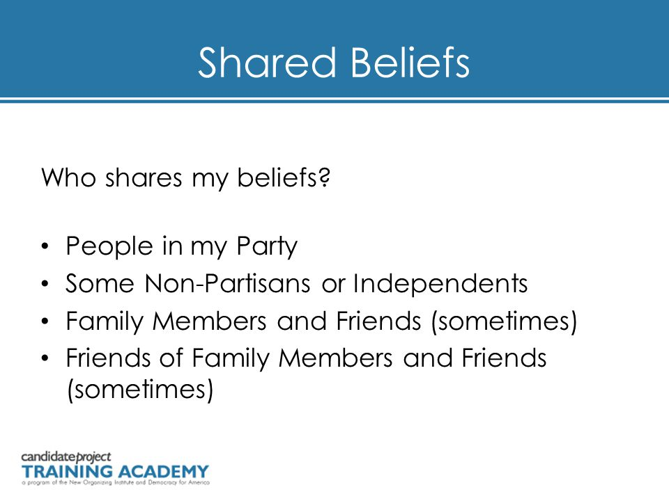 Shared Beliefs Who shares my beliefs.