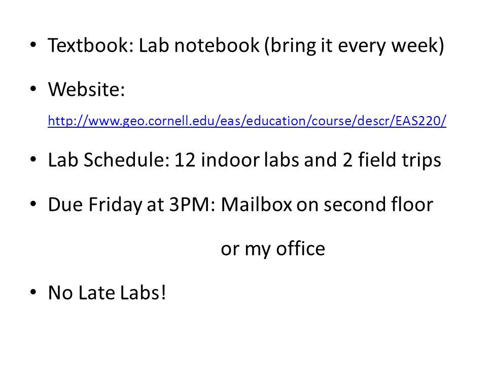 Textbook: Lab notebook (bring it every week) Website: http://www.geo.cornell.edu/eas/education/course/descr/EAS220/ http://www.geo.cornell.edu/eas/edu
