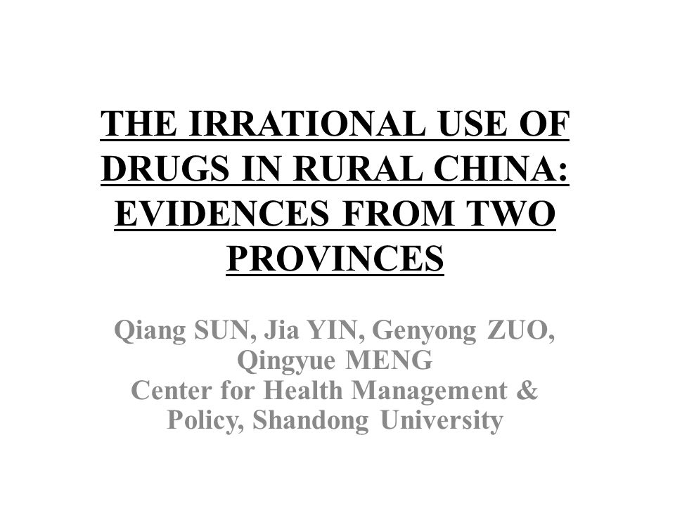Policy implication and conclusion Implementing continuous on-the-job trainings on and reforming the incentive mechanism for rural health providers are urgent and essential for improving rational use of drugs in rural China.