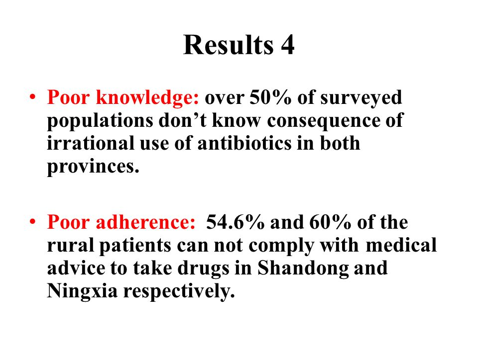 Results 4 Poor knowledge: over 50% of surveyed populations don't know consequence of irrational use of antibiotics in both provinces.