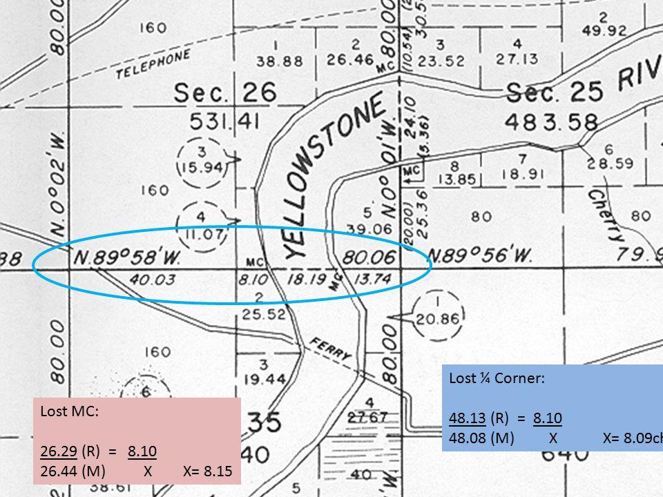 Lost ¼ Corner: 48.13 (R) = 8.10 48.08 (M) X X= 8.09chs Lost MC: 26.29 (R) = 8.10 26.44 (M) X X= 8.15