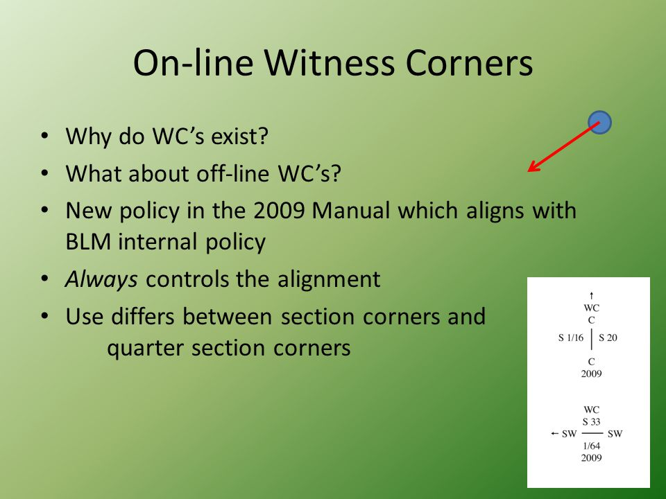 On-line Witness Corners Why do WC's exist? What about off-line WC's? New policy in the 2009 Manual which aligns with BLM internal policy Always contro