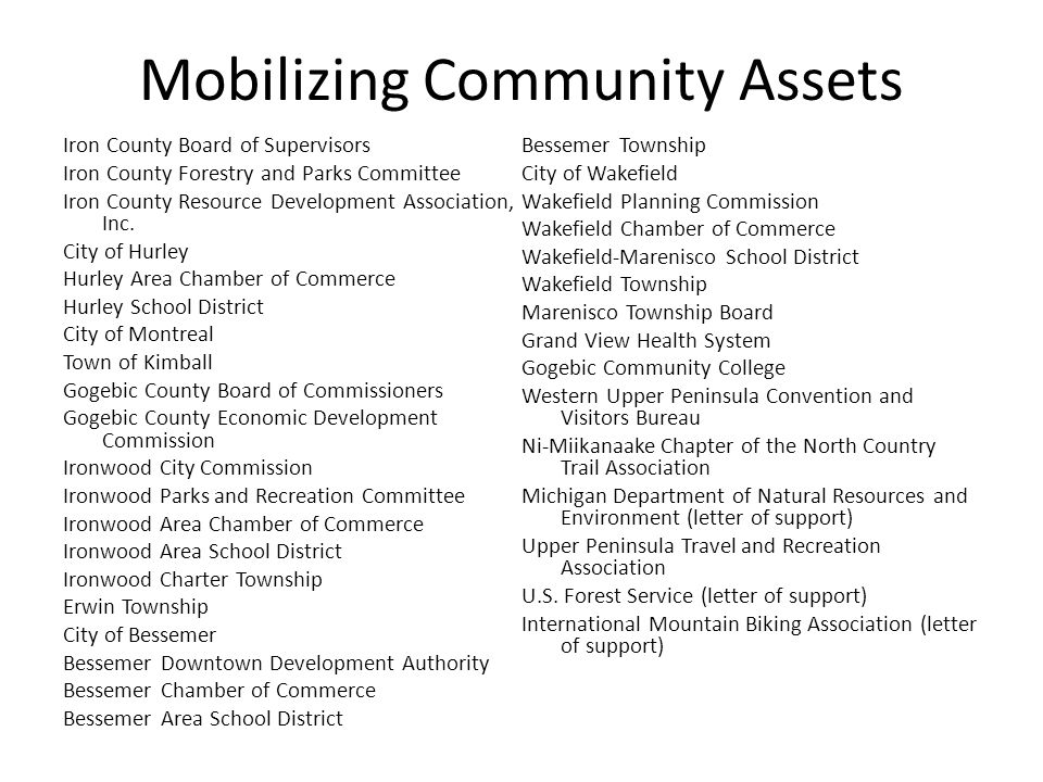 Mobilizing Community Assets Iron County Board of Supervisors Iron County Forestry and Parks Committee Iron County Resource Development Association, Inc.