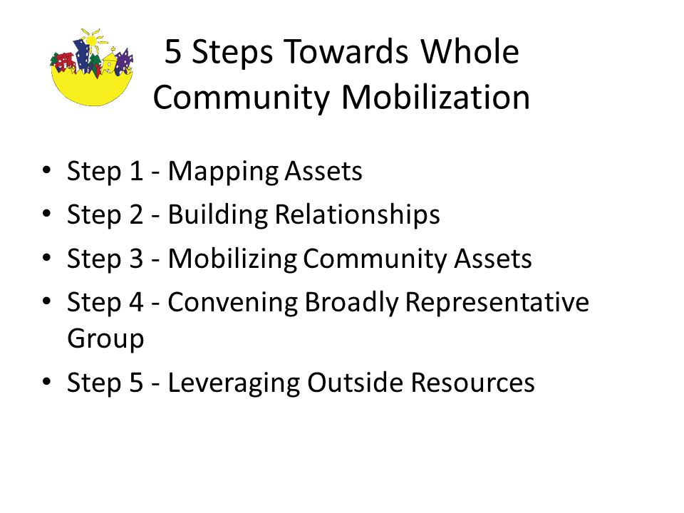 5 Steps Towards Whole Community Mobilization Step 1 - Mapping Assets Step 2 - Building Relationships Step 3 - Mobilizing Community Assets Step 4 - Convening Broadly Representative Group Step 5 - Leveraging Outside Resources