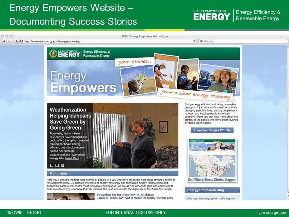 15 OWIP – EECBG FOR INTERNAL DOE USE ONLYeere.energy.gov 15 Energy Empowers Website – Documenting Success Stories