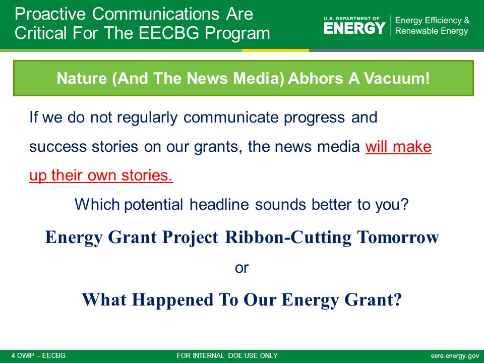 5 OWIP – EECBG FOR INTERNAL DOE USE ONLYeere.energy.gov A good rule of thumb – Can you see Oprah Winfrey talking excitedly about your project on her show? What Is A Success Story Anyway.