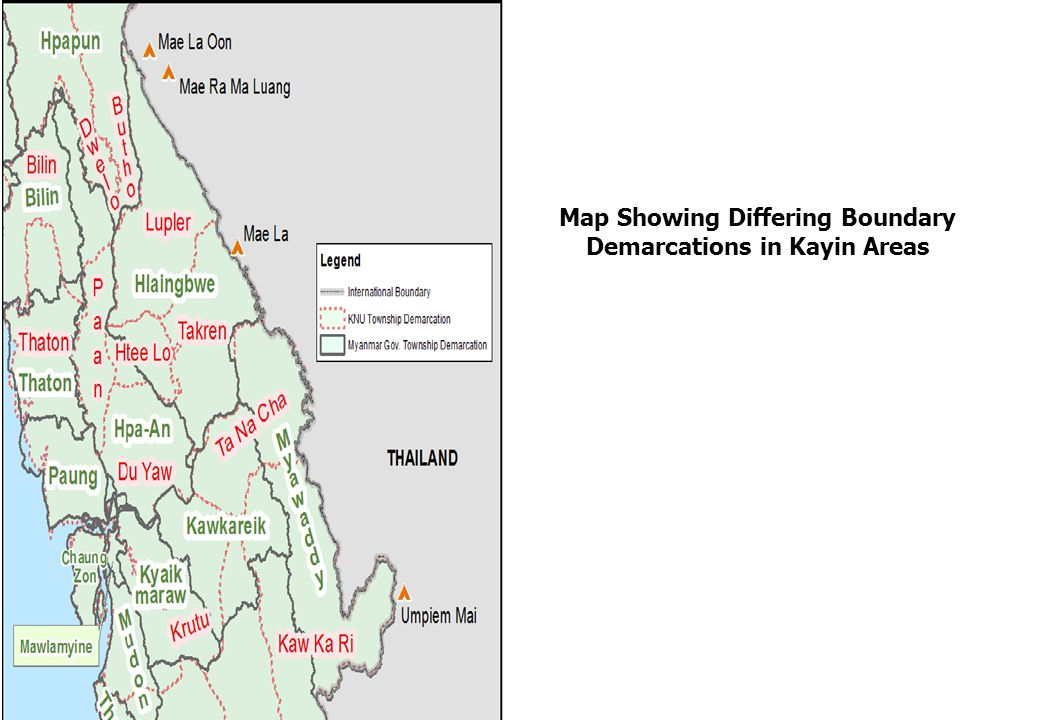 Map Showing Differing Boundary Demarcations in Kayin Areas