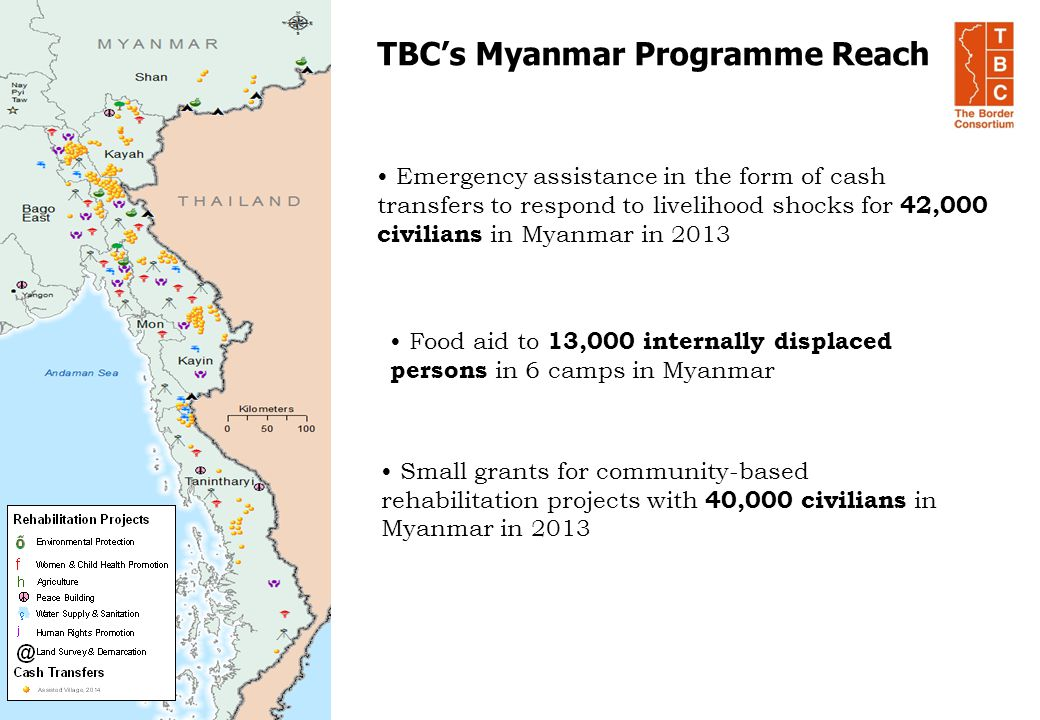 TBC's Myanmar Programme Reach Emergency assistance in the form of cash transfers to respond to livelihood shocks for 42,000 civilians in Myanmar in 20
