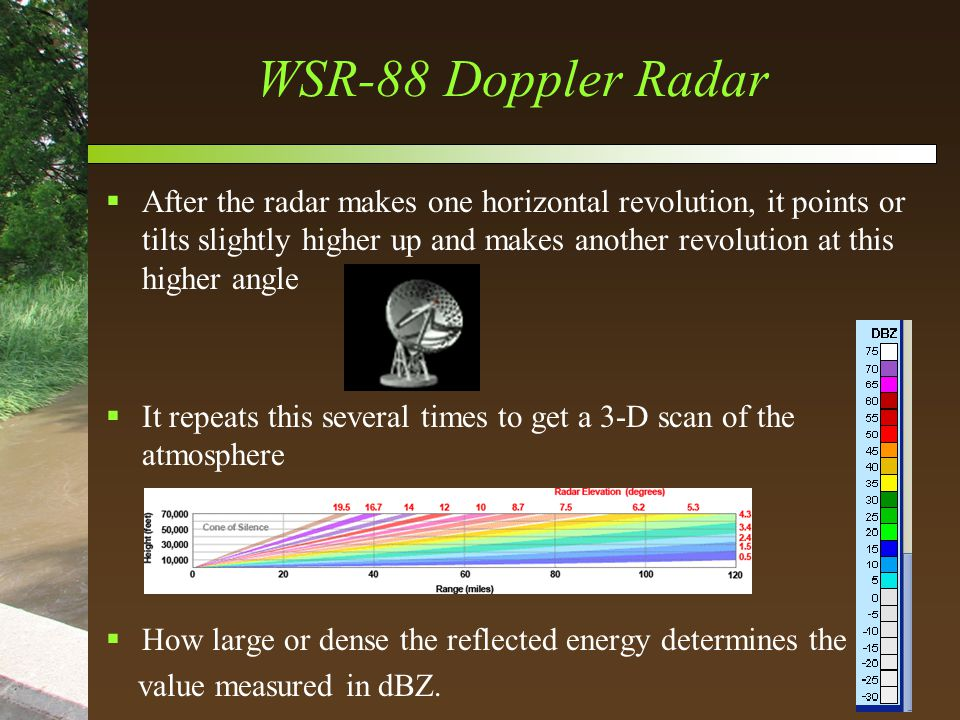 WSR-88 Doppler Radar  After the radar makes one horizontal revolution, it points or tilts slightly higher up and makes another revolution at this higher angle  It repeats this several times to get a 3-D scan of the atmosphere  How large or dense the reflected energy determines the value measured in dBZ.