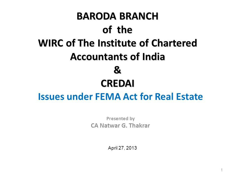 AGENDA Introduction Meaning of NRI/PIO Investment (other than FDI) by NRI/PIO and a Branch of a Foreign Company, Transfer & Repatriation of Sale Proceeds Investment abroad in Real Estate by Individuals/ Companies FDI in Real Estate (including by NRI/PIOs) Investment abroad in Real Estate Developments by Person Resident in India Q&A 2April 27, 2013