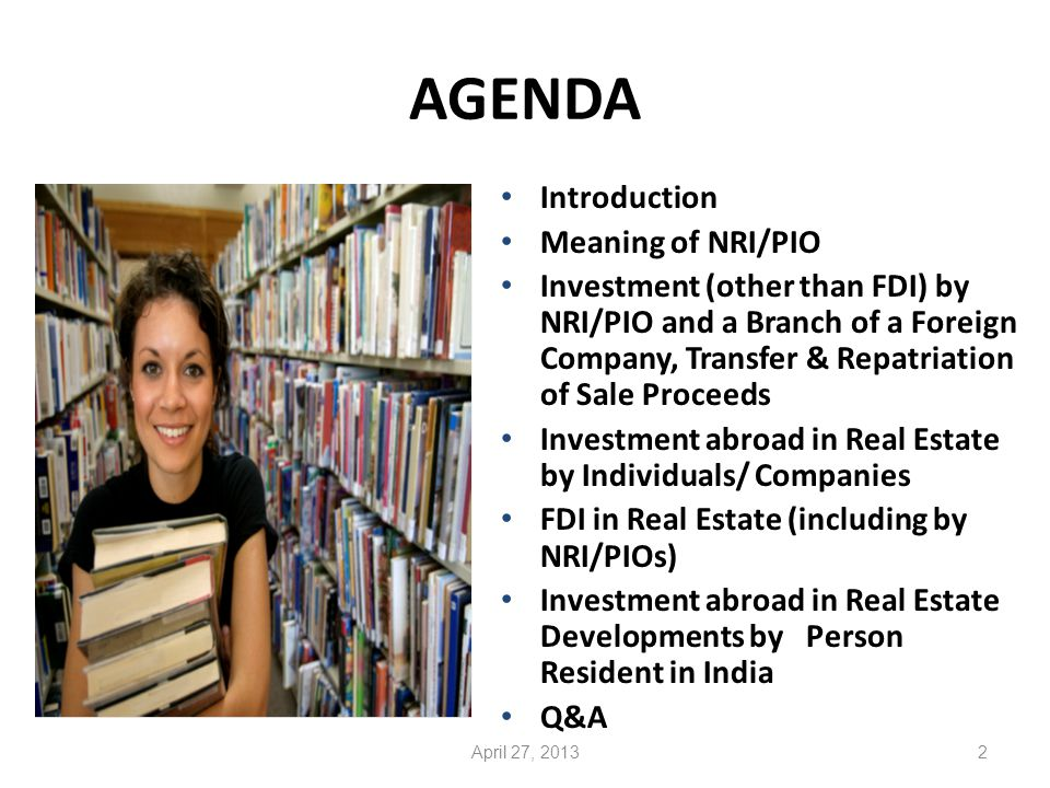 Investment in Real Estate Development Projects abroad 43April 27, 2013