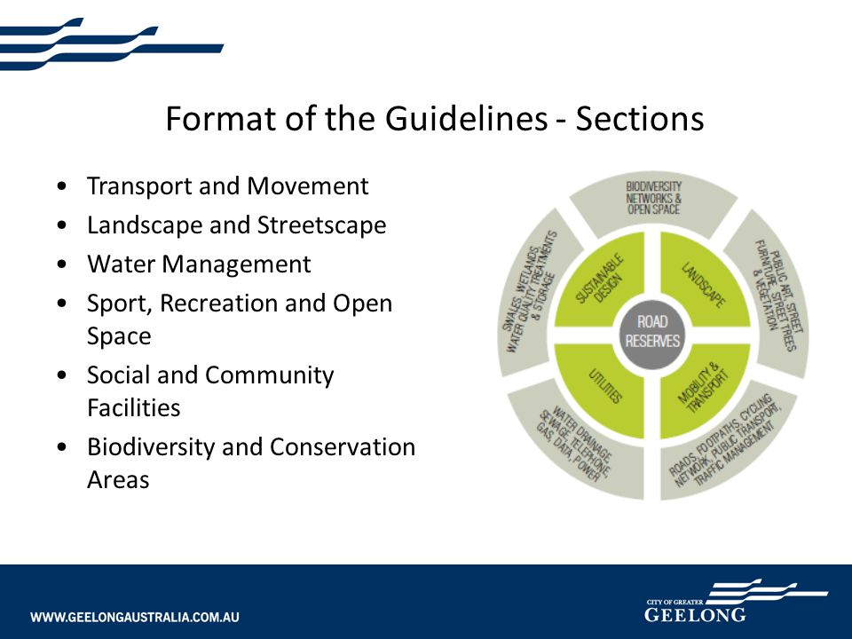 Format of the Guidelines - Sections Transport and Movement Landscape and Streetscape Water Management Sport, Recreation and Open Space Social and Comm