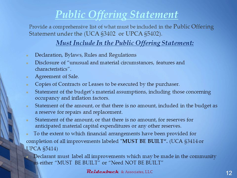 Public Offering Statement Provide a comprehensive list of what must be included in the Public Offering Statement under the (UCA §3402 or UPCA §5402).