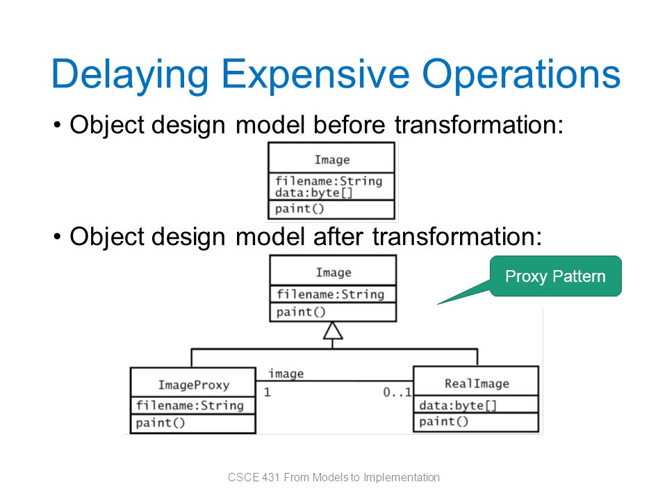 Delaying Expensive Operations Object design model before transformation: Object design model after transformation: CSCE 431 From Models to Implementation Proxy Pattern