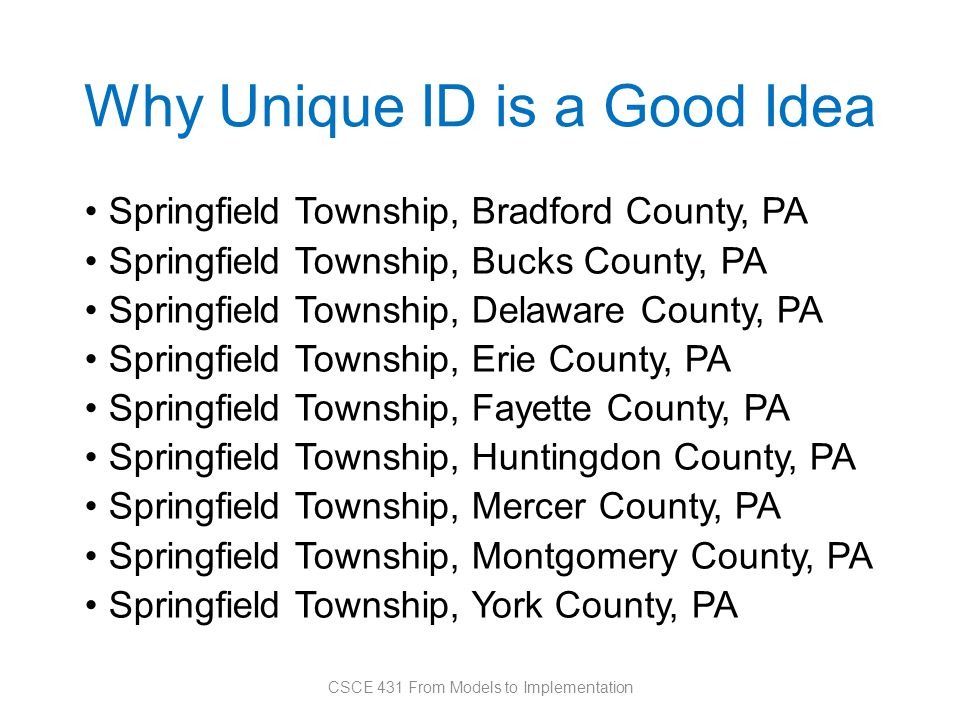 Why Unique ID is a Good Idea Springfield Township, Bradford County, PA Springfield Township, Bucks County, PA Springfield Township, Delaware County, PA Springfield Township, Erie County, PA Springfield Township, Fayette County, PA Springfield Township, Huntingdon County, PA Springfield Township, Mercer County, PA Springfield Township, Montgomery County, PA Springfield Township, York County, PA CSCE 431 From Models to Implementation