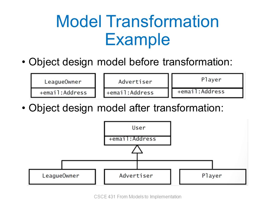 Model Transformation Example Object design model before transformation: Object design model after transformation: CSCE 431 From Models to Implementation
