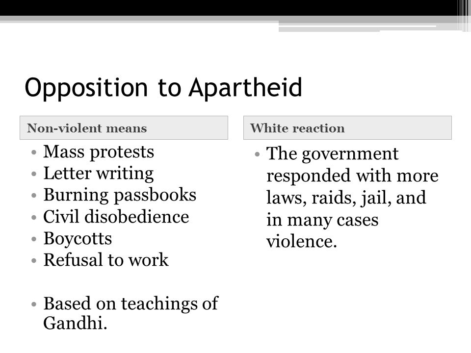 Opposition to Apartheid Non-violent meansWhite reaction Mass protests Letter writing Burning passbooks Civil disobedience Boycotts Refusal to work Bas