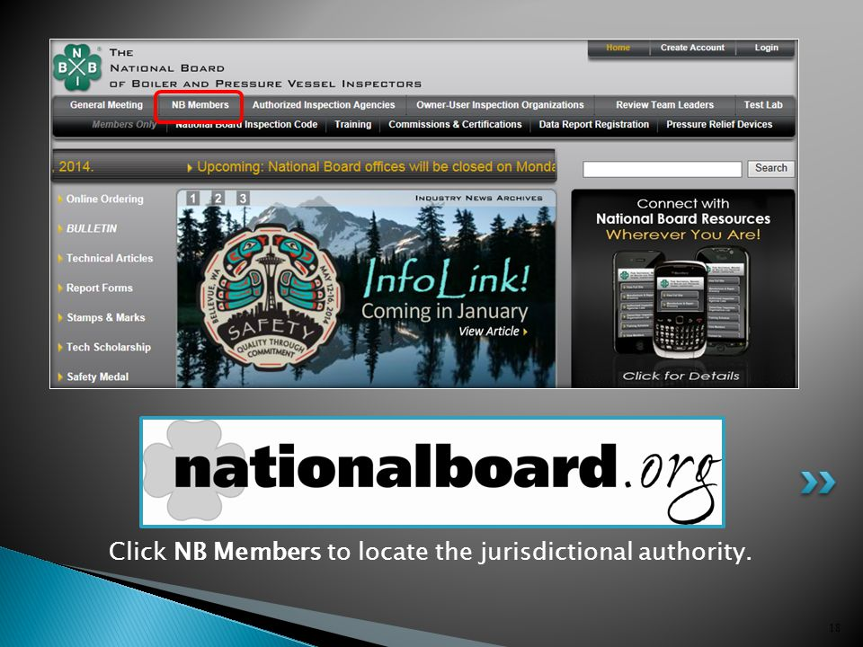 18 Click NB Members to locate the jurisdictional authority.