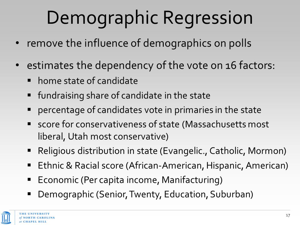 Demographic Regression remove the influence of demographics on polls estimates the dependency of the vote on 16 factors:  home state of candidate  f